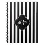 Black White Stripe Black Quatrefoil 3 Monogram Spiral Notebook