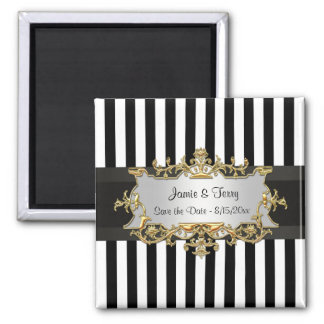 Black White Stripe, Black Ribbon Save the Date Magnet