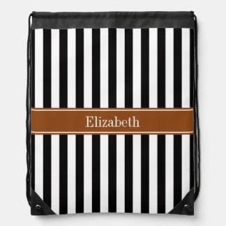Black White Stripe Brown Ribbon Name Monogram Drawstring Bag