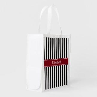 Black White Stripe Burgundy Name Monogram Grocery Bag