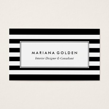Professional Business Black White Stripe Business Card