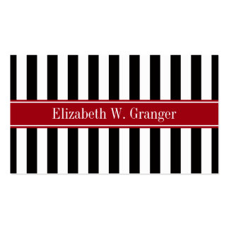 Black White Stripe Cranberry Name Monogram Business Card Template