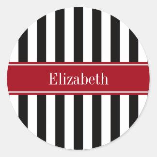 Black White Stripe Cranberry Name Monogram Classic Round Sticker