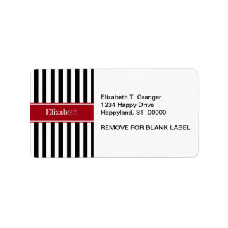 Black White Stripe Cranberry Name Monogram Address Label