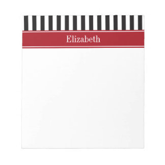 Black White Stripe Cranberry Name Monogram Notepad