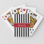 """Black White Stripe Cranberry Name Monogram Playing Cards<br><div class=""""desc"""">Black and White Stripe Pattern, Cranberry Red Ribbon Name Monogram Label Customize this with your name, monogram or other text. You can also change font, adjust the font size and font color, move the text to adjust letter spacing, etc. Need this pattern in other colors or designs? Just drop us...</div>"""