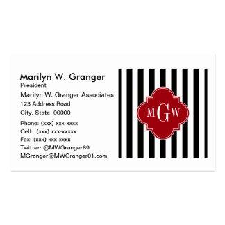 Black White Stripe Cranberry Quatrefoil 3 Monogram Business Card