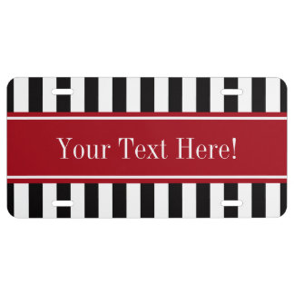 Black White Stripe Cranberry Red Name Monogram License Plate