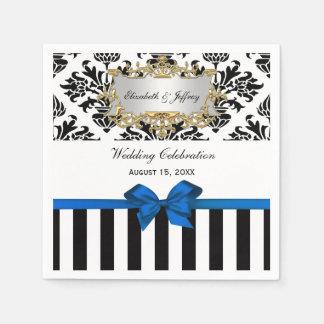 Black White Stripe Damask Blue Ribbon Paper Napkin