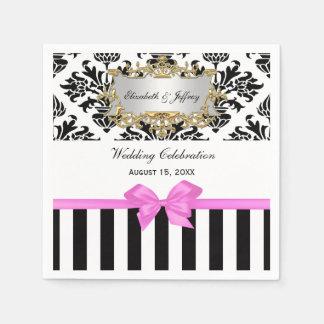 Black White Stripe Damask Bubble Gum Pink Ribbon Paper Napkins