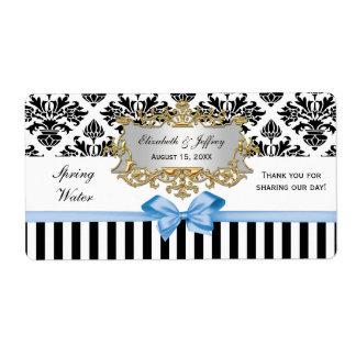 Black White Stripe Damask Lt Blue Water Label Shipping Label