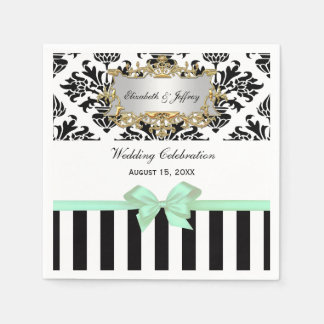 Black White Stripe Damask Mint Ribbon Paper Napkin