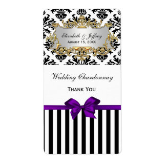 Black White Stripe Damask Purple Party Wine Label