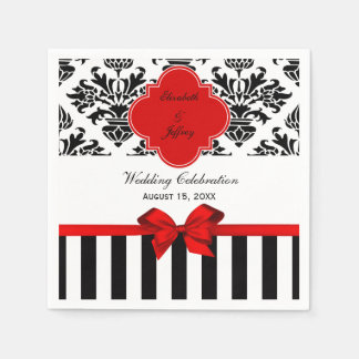 Black White Stripe Damask Red Ribbon Napkin