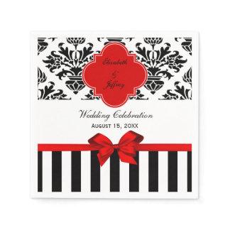 Black White Stripe Damask Red Ribbon Napkin