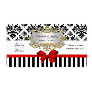 Black White Stripe Damask Red Water Label