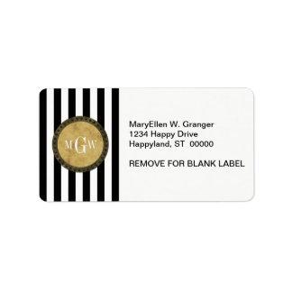 Black White Stripe Distressed Steampunk 3 Monogram Address Label