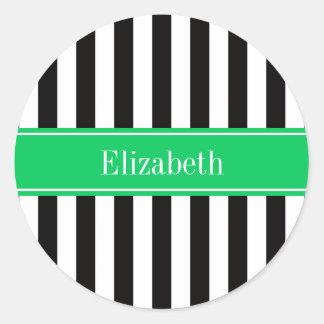 Black White Stripe Emerald Ribbon Name Monogram Classic Round Sticker
