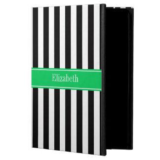 Black White Stripe Emerald Ribbon Name Monogram iPad Air Covers