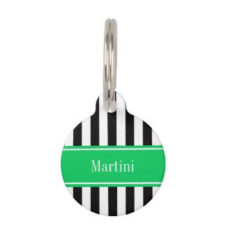Black White Stripe Emerald Ribbon Name Monogram Pet Name Tag