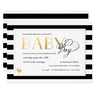 Black White Stripe Faux Gold Boy Baby Shower Invitation