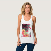 Black White Stripe Floral Bridesmaid Tank Top
