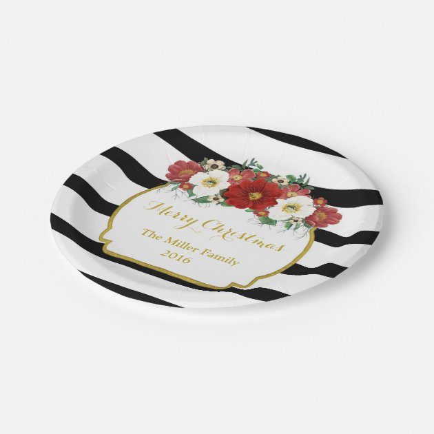 Black White Stripe Gold Red Floral Merry Christmas Paper
