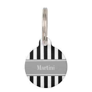 Black White Stripe Gray Ribbon Name Monogram Pet Name Tag
