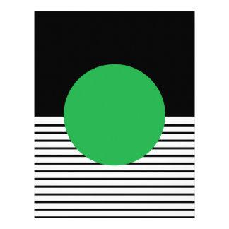 Black White Stripe & Green Circle Scrapbook Paper