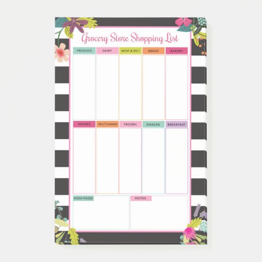 Black White Stripe Grocery Store Shopping List Post It Notes