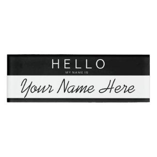 Black & White Stripe 'Hello My Name is...' Custom Name Tag