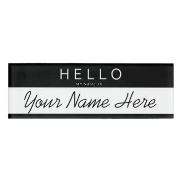 stripystripes Black & White Stripe 'Hello My Name is...' Custom Name Tag