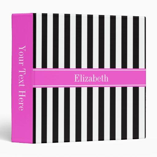 Black White Stripe Hot Pink Ribbon Name Monogram 3 Ring Binders
