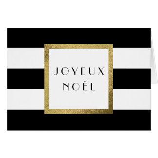 """Black & White Stripe """"Joyeux Noël"""" Christmas Card"""