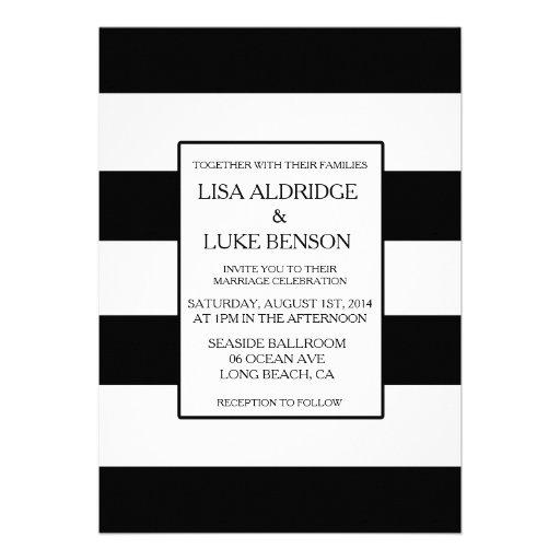 Black & White Stripe Kate Spade Wedding Invitation Personalized Announcement