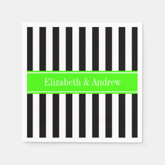 Black White Stripe Lime Ribbon Name Monogram Paper Napkin