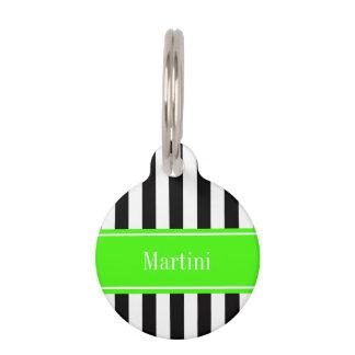 Black White Stripe Lime Ribbon Name Monogram Pet Name Tag