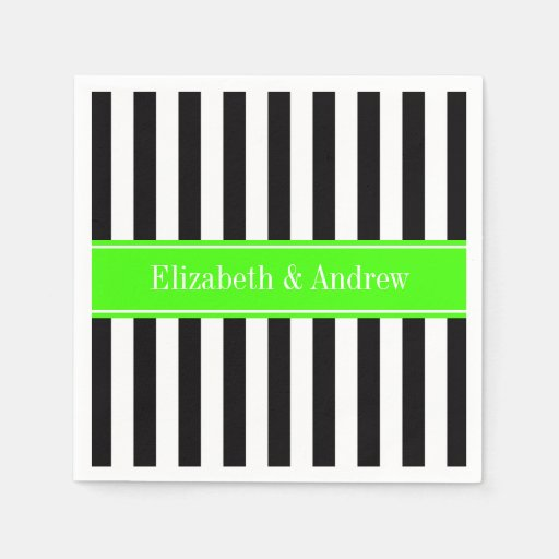 Black White Stripe Lime Ribbon Name Monogram Disposable Napkins