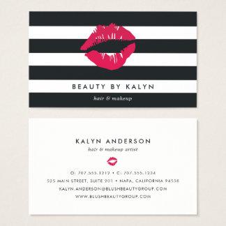 Black & White Stripe Lip Print Business Card