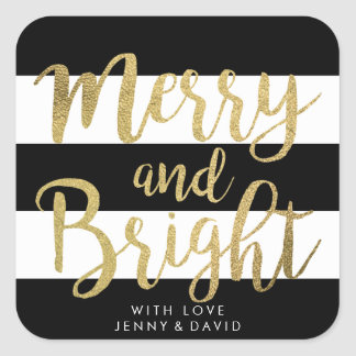 "Black & White Stripe ""Merry & Bright"" Xmas Gift Square Sticker"
