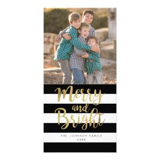 "Black & White Stripe ""Merry & Bright"" Xmas Photo Card"