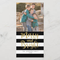 "Black & White Stripe ""Merry & Bright"" Xmas Photo Holiday Card"