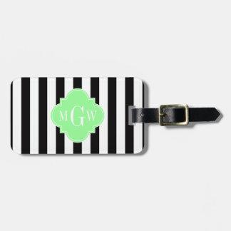 Black White Stripe Mint Grn Quatrefoil 3 Monogram Tag For Luggage