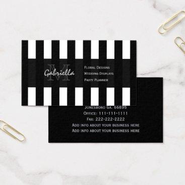 Professional Business Black White Stripe : Monogram Business Cards