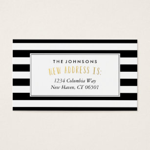Change of address business cards templates zazzle black white stripe new home address business card colourmoves Images
