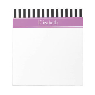 Black White Stripe Orchid Ribbon Name Monogram Notepad