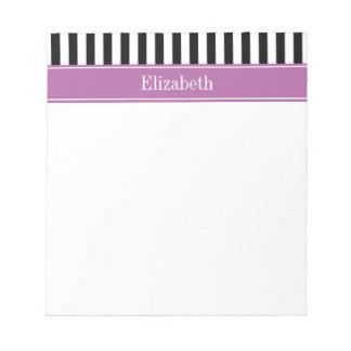 Black White Stripe Orchid Ribbon Name Monogram Memo Notepads