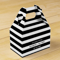 Black White Stripe Pattern Wedding Favor Boxes