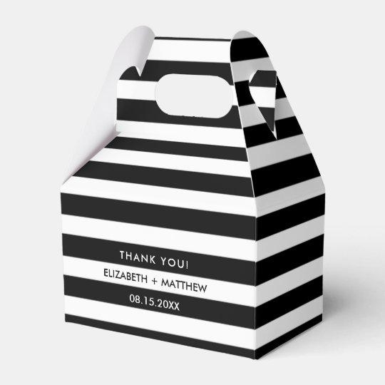 Black White Stripe Pattern Wedding Favor Boxes Zazzlecom