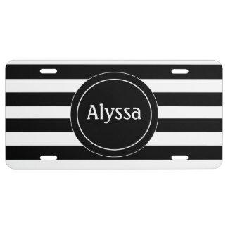 Black White Stripe Personalized License Plate